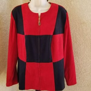Jessica Howard zip up blazer jacket colorblock 14